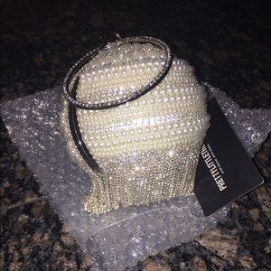 PLT x Olivia culpo pearl diamond sphere clutch bag